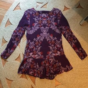 Free People Purple Floral Shirt, size Small